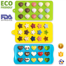 Cute Heart Shell Stars Shaped Silicone Mini Candy Chocolate Mold/Ice Cube Tray