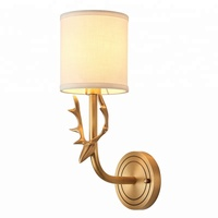 American simple style copper wall lamp for living room