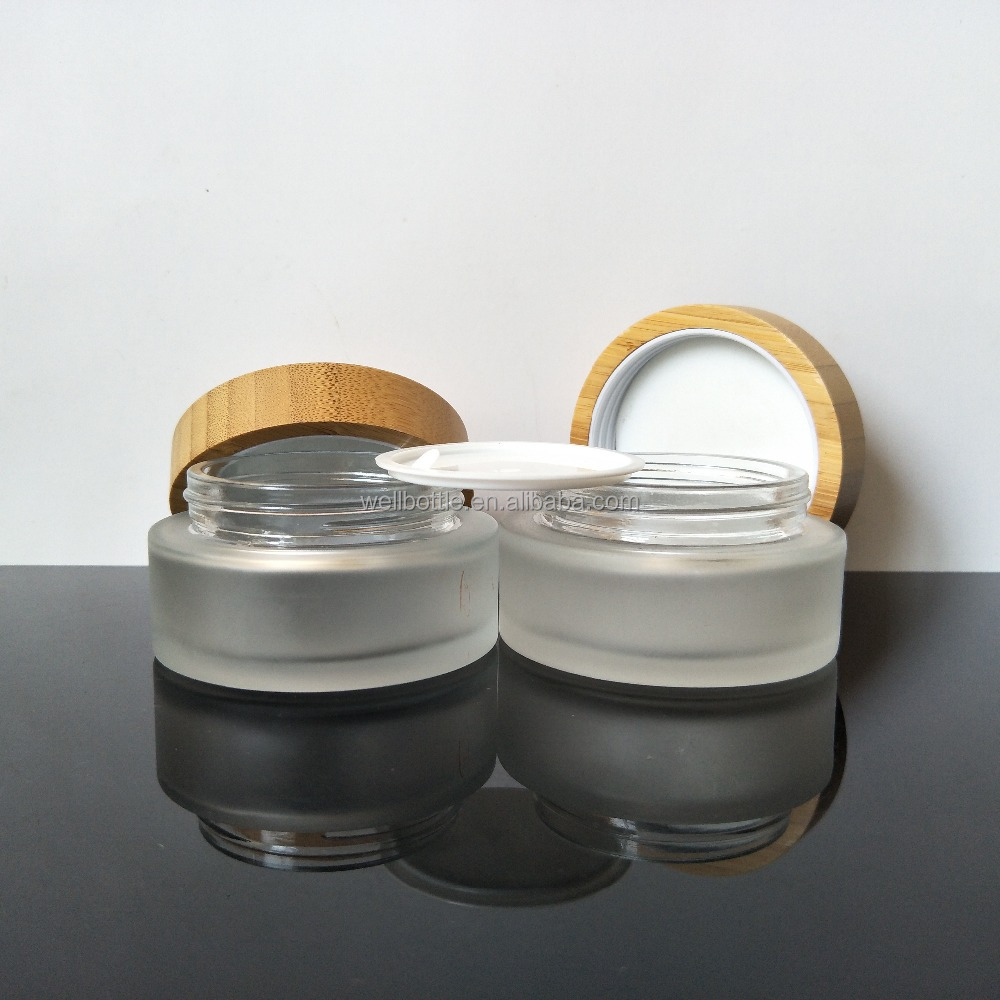 glass jar with wooden lid cosmetic creams packaging for cream GJ-2010A