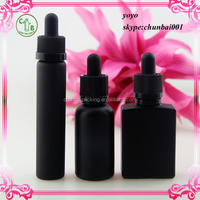 e cig liquid 15ml 30ml square black frosted glass dropper bottle/flat glass bottle/black UV glass