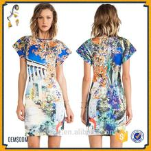 Wholesale Woman Sexy round neck short sleeve Athena print vacation casual dress