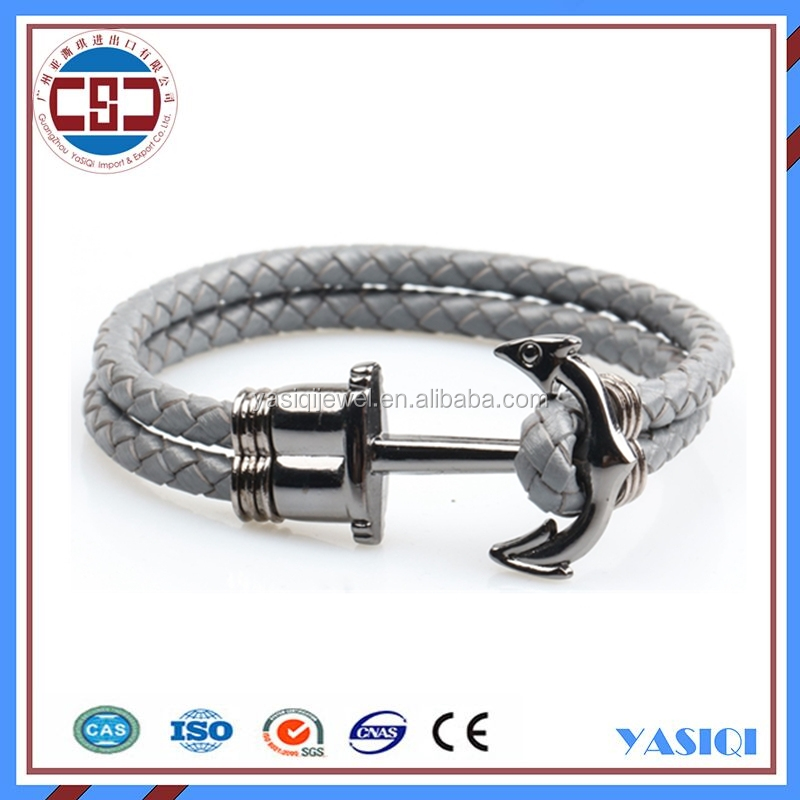 grey leather rope bracelet nautical anchor bracelet for men