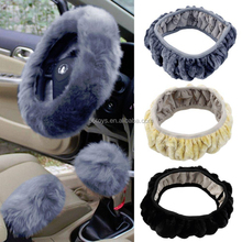 Winter round cartoon steering wheel plush cover
