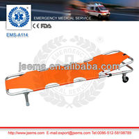 EMS-A114 Two-Foldaway Stretcher with wheels Aluminum Alloy