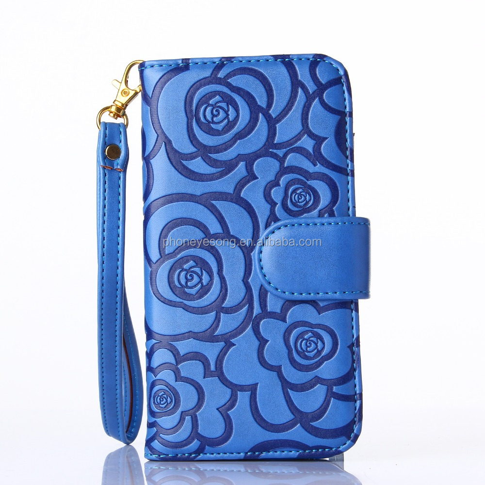Blue flower piriting leather filp case for samsung s6