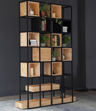 American country square loft design shelving / black iron book <strong>shelf</strong>
