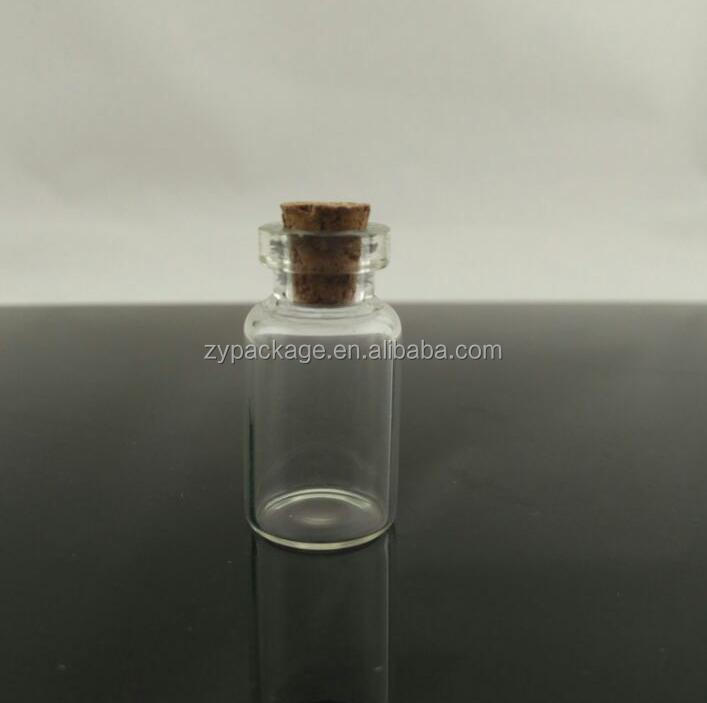 Tubular transparent /amber 10ml glass bottle/vial with cork