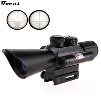 Focus Sport Compact 4X30 rifle scope red green Mil-Dot Reticle with side attached red laser sight Tactical Optics Scopes