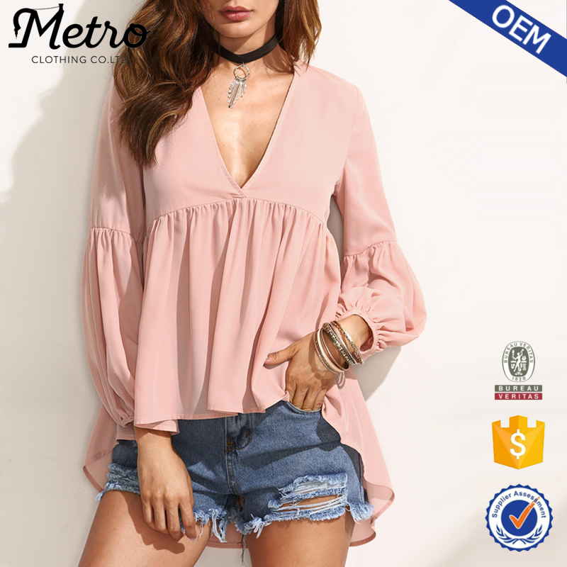 New Fashion Women Chiffon Deep V Plain Pink Blouse