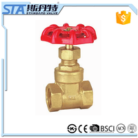 ART.4012 Manufacturer italy forged durable female thread brass non rising stem gate valve price with red cast iron handwheel