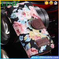 Retro Lovely Floral PU Leather Case for iphone 5 5S 5G i5 Women Flower Grain Wallet Stand Cover Bag Pouch 50pcs DHL, RCD04205