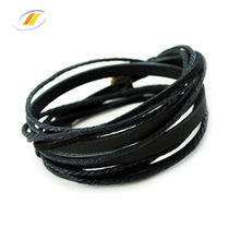 Hot Sale Cotton Wax Rope Multilayer Leather Men Cuff Bracelet