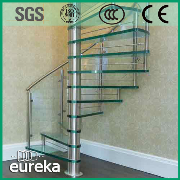 Excellent quality latest glass baluster spiral stair case