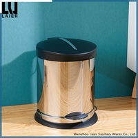 5 Liter 1.3 Gallon Round Step Trash Can Polished 201 Stainless Steel Waste Bin