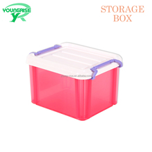 New design durable small objects use plastic take away storage boxes with handle and lid