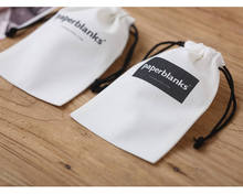 LOGO printed Custom white bag cotton canvas drawstring pouches gift packaging cosmetic bag jewelry packaging bag