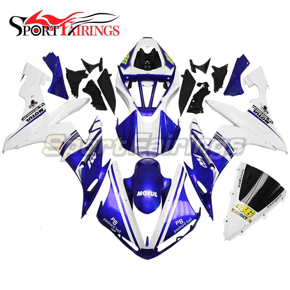 Full Fairings For Yamaha YZF <strong>R1</strong> 04 05 06 ABS Plastic Injection Motorcycle Fairing Kit Body Kits FIAT 46 Blue White