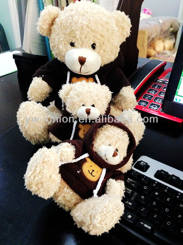 "6"" 8"" 10"" stuffed Plush toy bear in T-shirt"