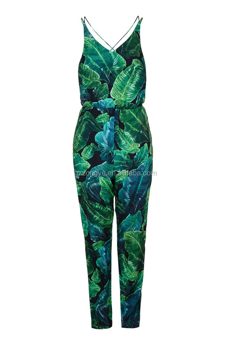 HOT selling Tall Palm Print adult jumpsuit pajama