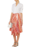 Wholesale women folded side overlay sequined mesh draped front sequined midi skirt