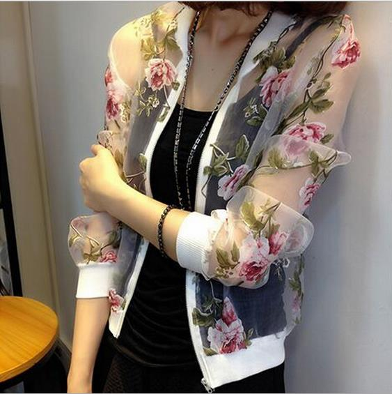 Wholesale Women Floral Printed Bomber Jacket 2017 Summer Screen Bomber Jacket