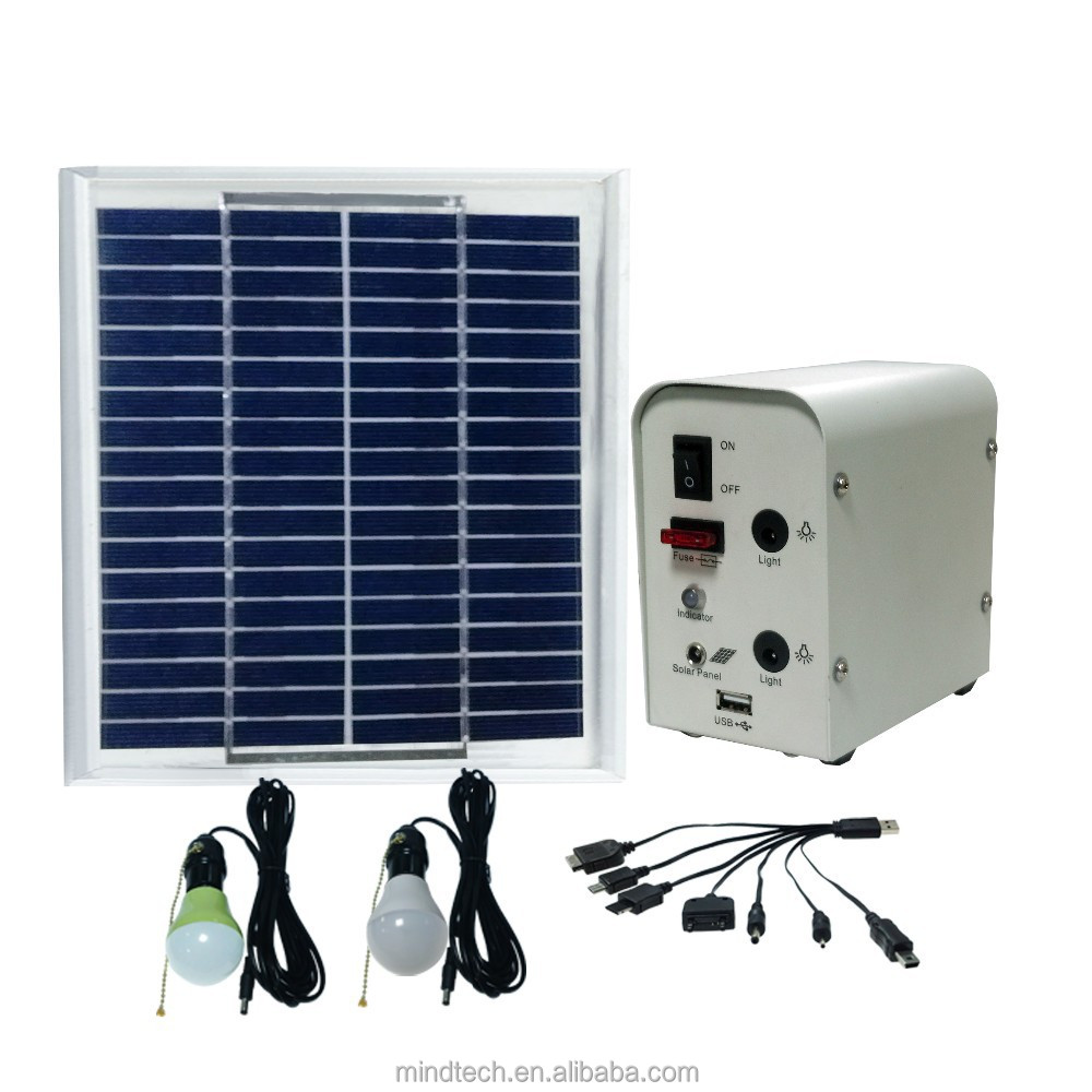 Africa Hot sale Mini energy solar light with 5w solar panel 12v 4ah battery and 2pcs 12v 3w led lamp