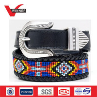 2015 fashion beaded leather belts