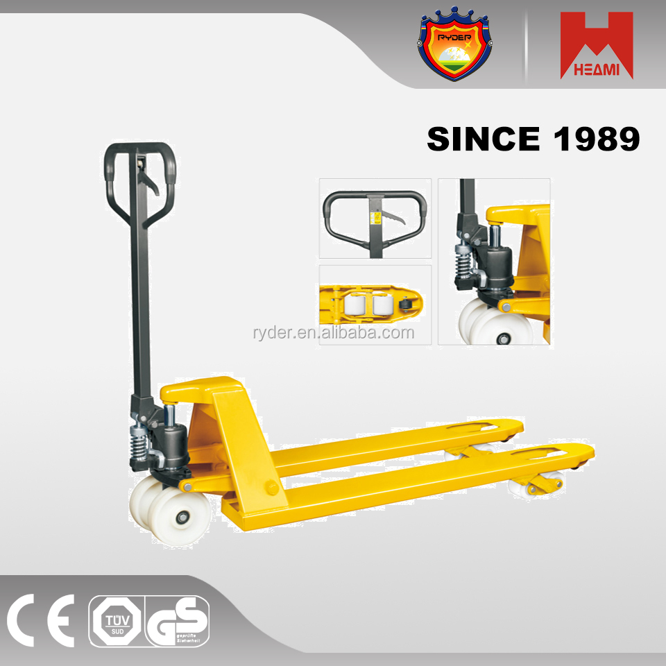 china jack pallet truck with nylon pu road wheels CE GS