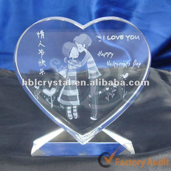 engraved crystal heart plaque