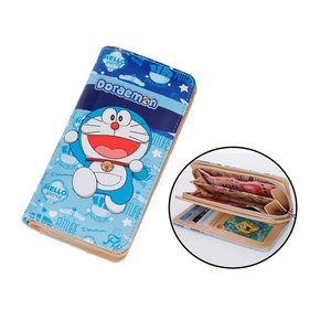 2019 Newest Japanese Cartoon Doraemon PU Leather Wallet Teenager Long Coin Purse