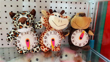 2014 latest style plush soft animals toys with clock /Forest animals plush soft toys with clock time