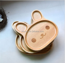 Cute Wood Child 3 Compartment <strong>Plate</strong> Divided Tray Baby Cartoon Rabbit <strong>Plate</strong> Appetizer Platter 20*20*6.2cm