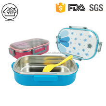 Airtight School Lunch Box with Flatware for Child Plastic PP Outer with Stainless Steel Inner 700ml - 710ml