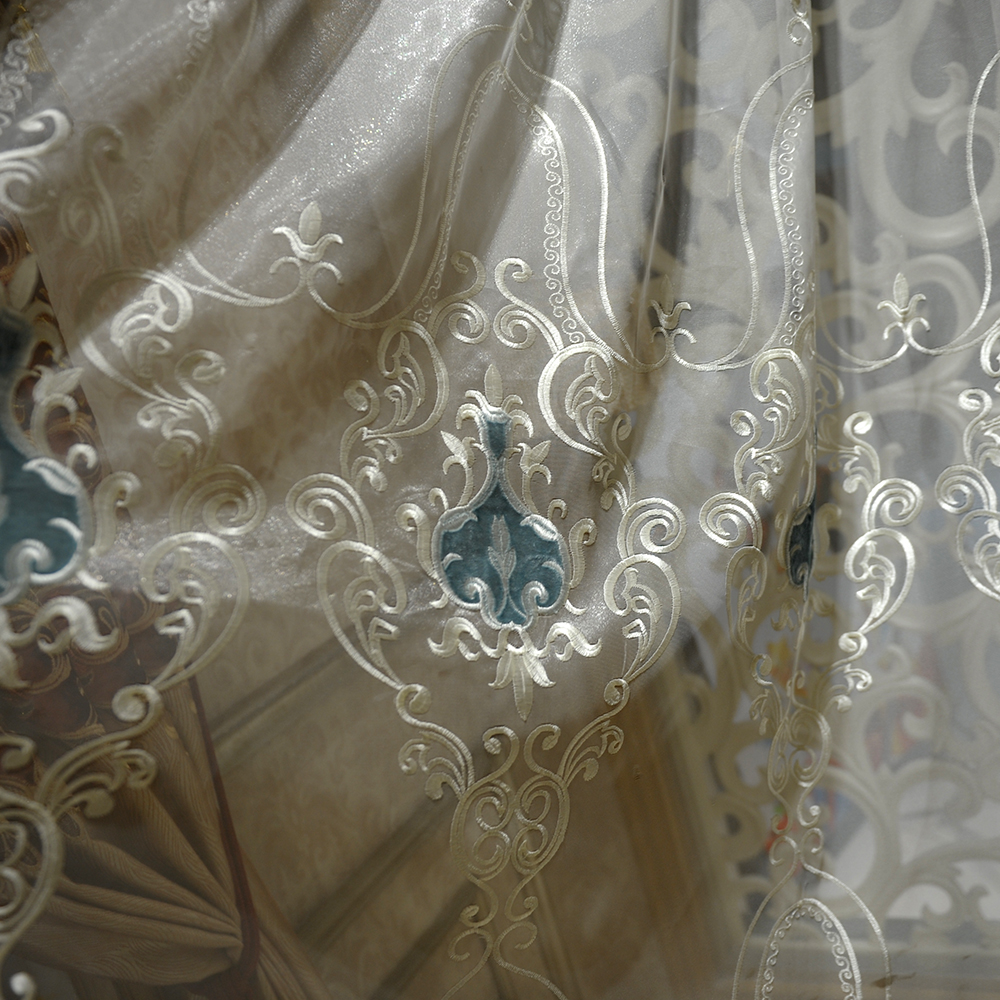 wholesale white color tulle with grey velvet applique embroidery, living room window sheer curtain fabric