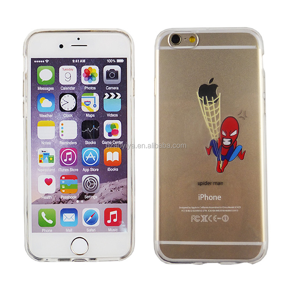 Hot sell DIY custom print spider man design soft TPU phone case full cover for iPhone