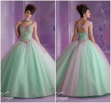 Hot Selling Classic Western style Ball gown pink green quinceanera dresses with sleeves CYQ-012