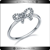 2015 Cute Bow Shape 925 Sterling Silver CZ Ring