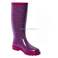 fashion print knee high rubber boots waterproof working shoes