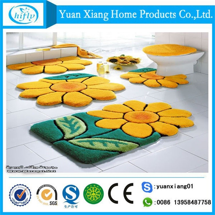 New design flower shaped acrylic bath rug set with 5pcs