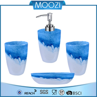 Blue Sea and white wave Bahtoom Accessory Set Glass Set