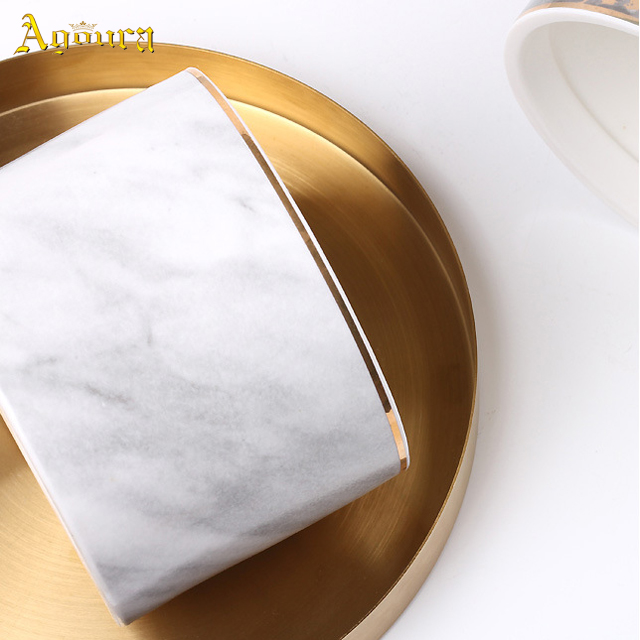 White fashionable Marble three-layer ceramic sealed can