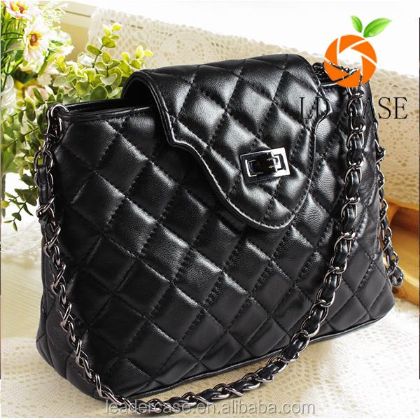 Trendy Diamond genuine soft goat leather Pattern famous brand name designer handbag with factory price