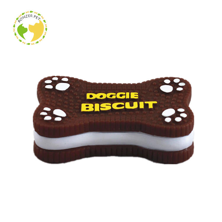 Soft Rubber Biscuits Dog Toy Sandwich Biscuit Dog Toy
