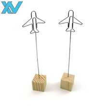 Cube wooden base airplane shape metal photo holder clips