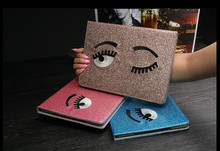 In stock leather blink eyes glitter stand case for ipad air for ipad 2/3/4/5/6 for ipad mini