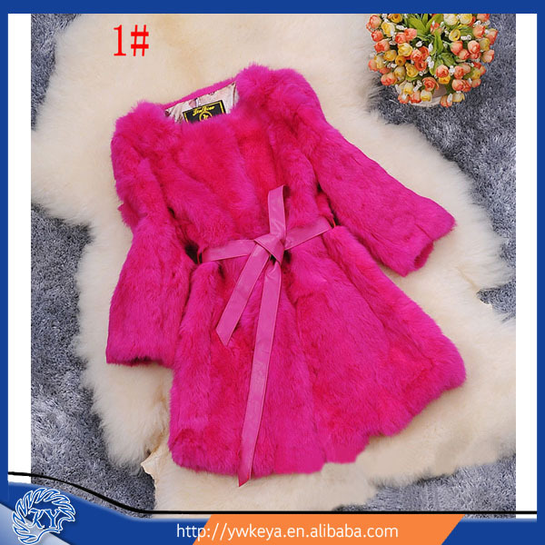 Cheap price genuine Rabbit Fur Coat with belt