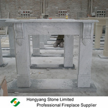 Italian natural white Cararra marble fireplace