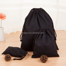 custom black cotton drawstring bag for garments and cosmetic