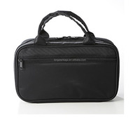 Black Travel Double Zipper Compartment Cosmetic Bag