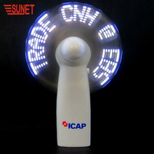 2018 SUNJET Products Souvenir Light Up Toy Fan Led Custom Message Fan